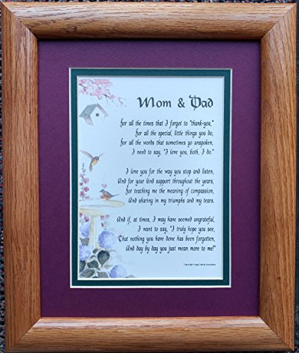#3135 Present For Mom and Dad Framed Poem A Gift For Parents' Anniversary
