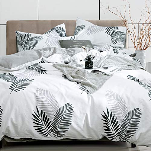Kosa Bedding 3 Pieces Duvet Cover Set,Premium Cotton,Tropical Leaves Print Comforter Cover with Zipper Closure, Reversible Pattern Bedding Set for All Season (King Size)