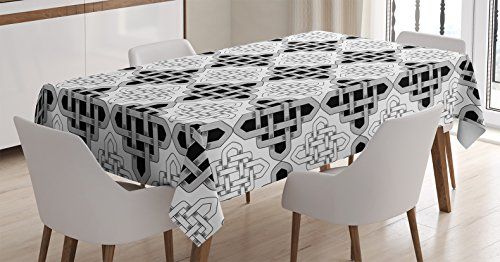 "Ambesonne Celtic Tablecloth, Scandinavian Celtic Regular Interlace Nested Old Motif Old School Vintage Design, Dining Room Kitchen Rectangular Table Cover, 52"" X 70"", White Grey"