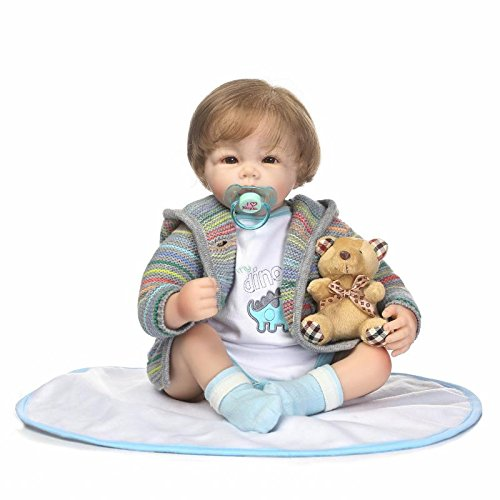 China Girl Vinyl Wig (Oumeinuo Realisted Reborn Baby Doll Soft Silicone Vinyl 20inch 50cm Magnetic Mouth Lifelike Boy Girl Toy Brown Eyes Open)