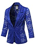 Overall Lace Button up Classic Blazer - Made in USA Royal Size M