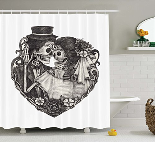 (Ambesonne Tattoo Decor Shower Curtain by, Throne of Mythological Hell Gate Artisan Afterlife Scene Death God Sin Souls, Fabric Bathroom Decor Set with Hooks, 84 Inches Extra Long, Grey White)
