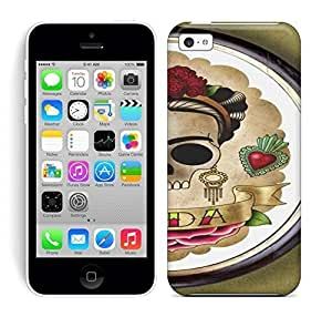 Best Power(Tm) HD Colorful Painted Watercolor Frida Skull Girl Print Flash Tattoo Imagery Hard Phone Case For Iphone 5C