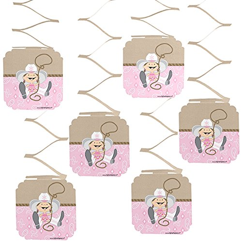 Big Dot of Happiness Little Cowgirl - Western Baby Shower or Birthday Party Hanging Decorations - 6 Count ()