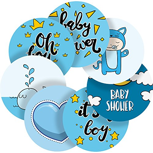 Lovely Hand Drawn Baby Shower Boy Reward Sticker Labels, 35 Stickers @ 1.4