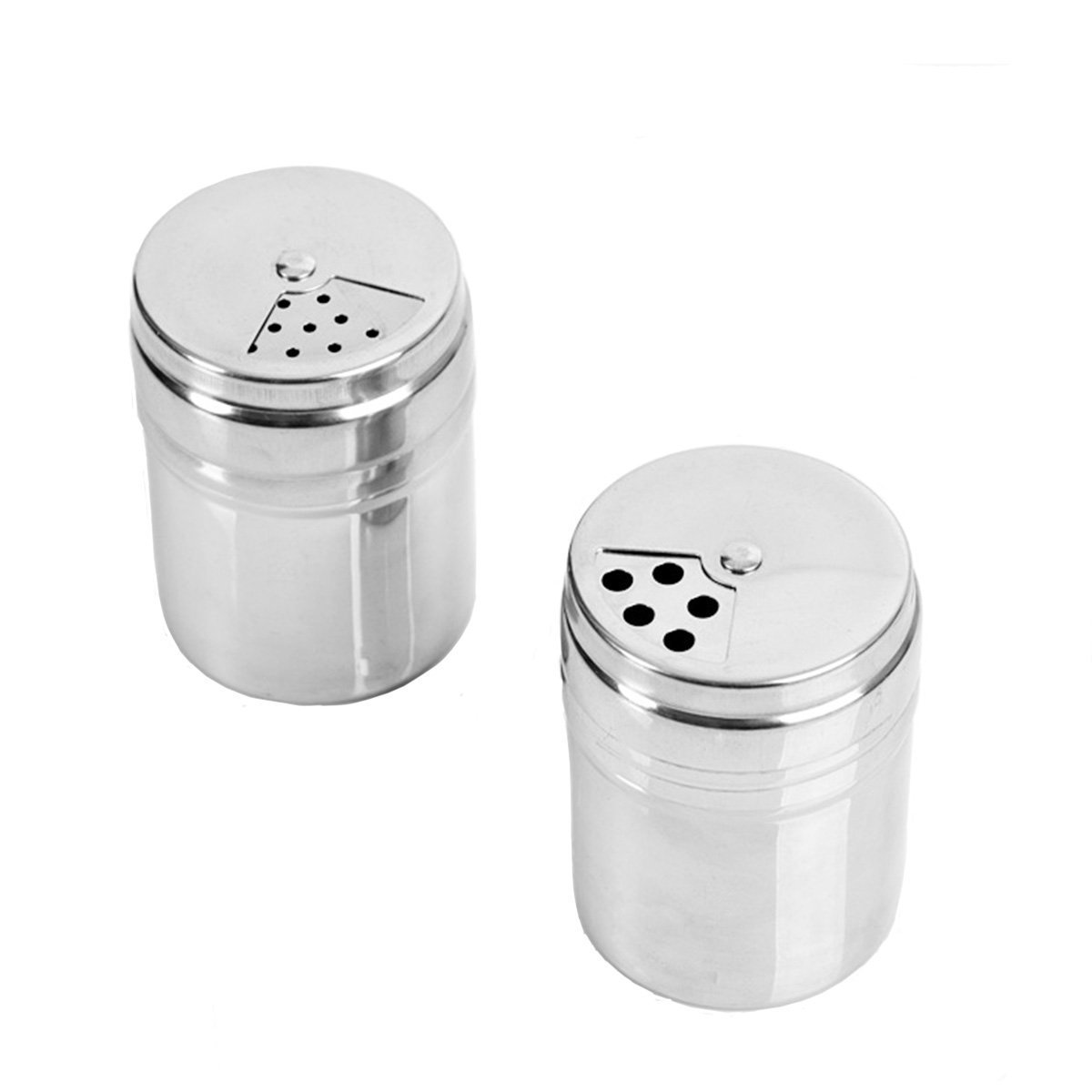 Verdental Stainless Steel Dredge Salt / Sugar / Spice / Pepper Shaker Seasoning Cans with Rotating Cover - 6 PCS