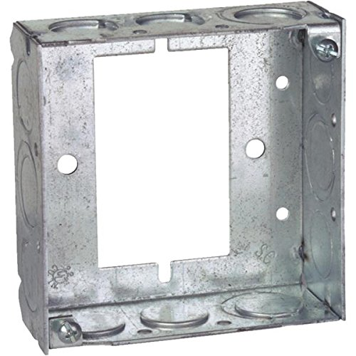 Steel City 531511234UB Pre-Galvanized Steel Square Box Extension Ring with 1/2-Inch and 3/4-Inch Knockouts