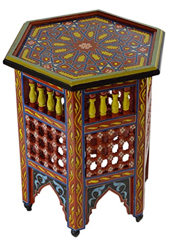 Moroccan Handmade Wood Table Side Moucharabi Delicate Hand Painted Red Exquisite