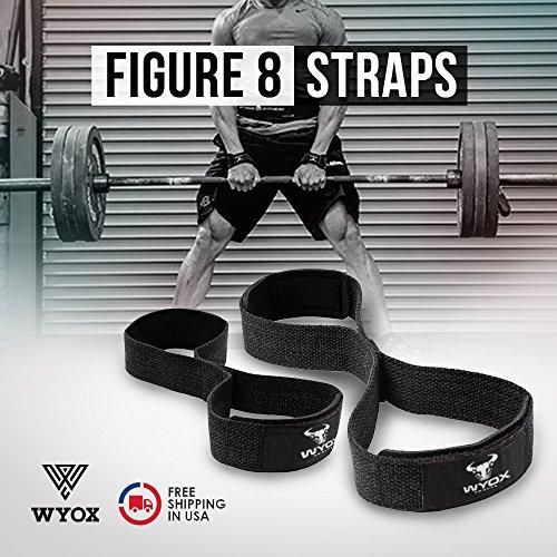 Wyox Figure 8 Weight Lifting straps Gym Fitness Cross fit Bodybuilding Neoprene Wrist Support (Black) – DiZiSports Store