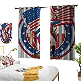 Anshesix Polyester Curtain United States American Patriot Emblem Cartoon Style Fourth of July Design Country History W55 xL39 Multicolor Suitable for Bedroom Living Room Study,etc.