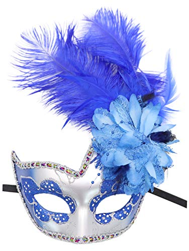 Pretty Masks For Halloween (Women's Feather Masquerade Mask Venetian Halloween Mardi Gras Costumes Party Ball Prom Mask (ZA Silver Royal)