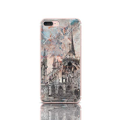 Notre Dame Phone Case for iPhone 4 4S Clear Flexible Silicone Cover Paris Cathedral Shockproof Protective Case Marble Dotwork (Notre Dame Iphone 4 Case)