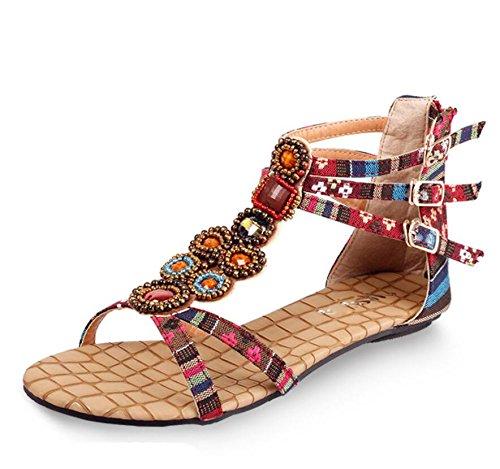 KHSKX-Die Rote Sommer Wasser Bohren Neue Perlen Sandalen Die Empfindung Der Frauen Schuhe Flacher Boden Mit Weichem Sand Strand Sandals Weiblich 34