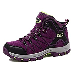 Hoxekle Womens Waterproof Hiking Boots Sports Anti Slip Laces up Outdoor Mountain Trekking Sneakers Shoes