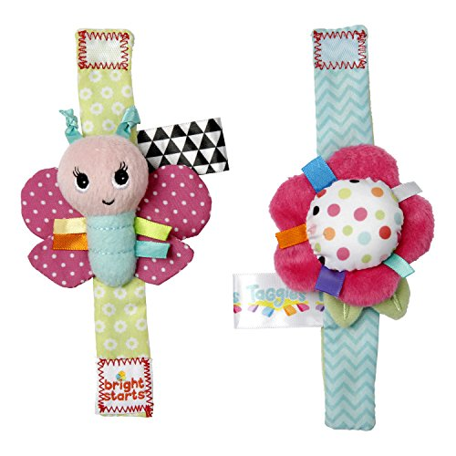 Bright Starts Pretty in Pink Rattle, Me Bracelets -