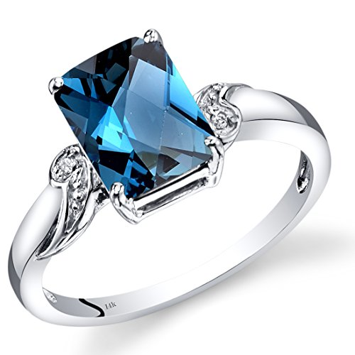 n Blue Topaz Diamond Ring Radiant Checkerboard Cut 2.5 Carats Total (Radiant Cut Diamond Solitaire Ring)