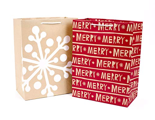 Hallmark 12″ Large Christmas Gift Bags (Pack of 2; Red Merry, Kraft Snowflake)