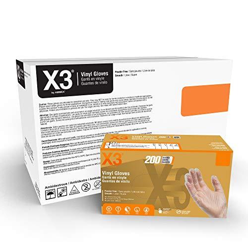 AMMEX GPX3 200 Industrial Clear Vinyl Gloves, Case