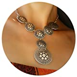 Silver Plated Short Elegant Trendy Chunky Retro Vintage Boho Unique Small Statement Y Necklace