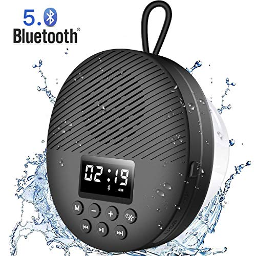 Shower Radio Speaker with Bluetooth 5.0, AGPTEK Waterproof Wireless Bathroom FM with LCD Screen Display, 12H Playback Time, Handsfree Calling, SD Card Playback, Suction Cup, Black