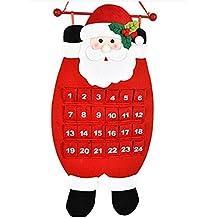 Christmas decorations,IEason Christmas Old Man Snow Man Deer Calendar Advent Countdown Calendar (Red)