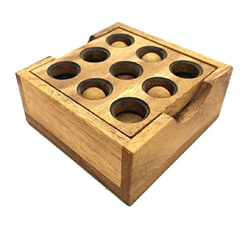 RATREE SHOP Handmade Golf Puzzle ( Gopher Holes ): Handmade & Organic 3D Brain Teaser, Wooden Puzzle for Adults & Children