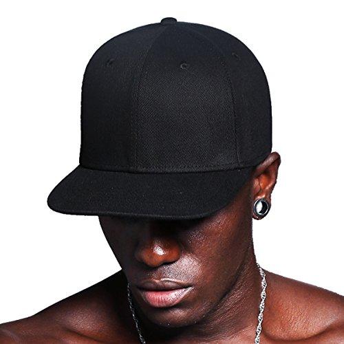 CACUSS Solid Cotton Flat Bill Brim Baseball Hat With Adjustable Snapback Hip Hop Cap(Black)