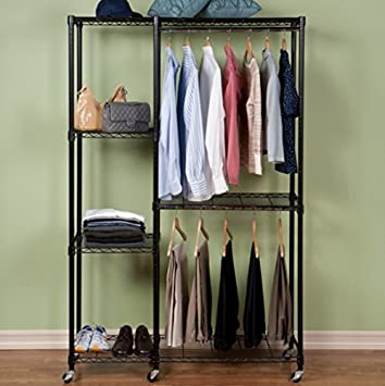 Tiered Garment Storage Rack With Heavy Duty Zippered Cover Provides Extra Closet Space Saver Great for & Amazon.com: Tiered Garment Storage Rack With Heavy Duty Zippered ...