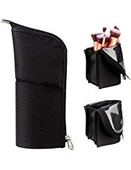 Makeup Brush Holder Organizer Bag Professional Artist Brushes Travel Bag Stand-up Makeup Cup Waterproof Dust-proof Brush Storage Pouch Case (Black)