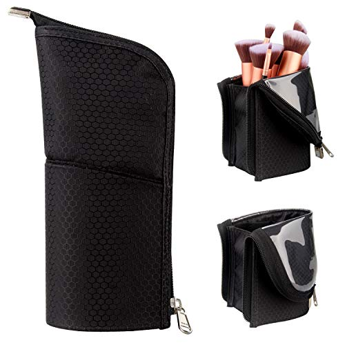 Makeup Brush Holder Organizer Bag Professional Artist Brushes Travel Bag Stand-up Makeup Cup Waterproof Dust-proof Brush…