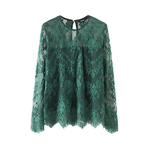 - Clearance Sale! Wintialy Women Vintage Transparent Lace Shirt Long Sleeve O-Neck Blouse Ladies Tops