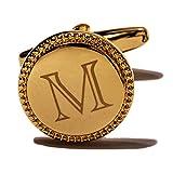 HJ Men's 2PCS Fashion Tuxedo Shirts Cufflinks Citicall Initial Letter Platinum Plated 2 Color A-Z (Gold M)