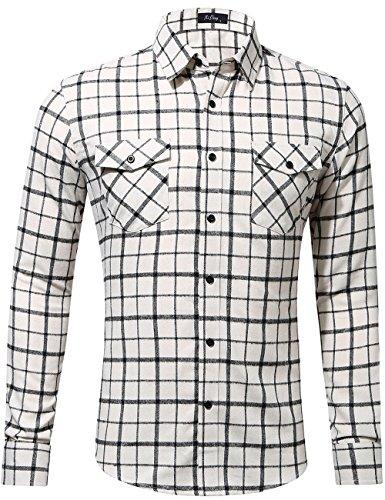 XI PENG Men's Dress Long Sleeve Flannel Shirt Thermal Plaid Checkered Jacket (Beige, Medium)