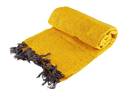 Hand Woven Solid Color Mexican Throw Blanket/Cover with Free Silicon Bracelet (Yellow)