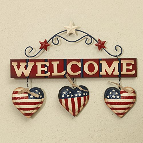 Patriotic Door - One Holiday Lane Patriotic Metal and Wood Hanging Welcome Sign with American Flag Hearts - 4th of July Decoration