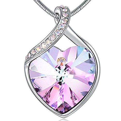 Angelady Lila Klassische Damen Frauen Herz Anhänger Halskette Kette Geschenk für Damen Frauen Mädchen Frau Mutter Freundin, Kristall von Swarovski (Lila)