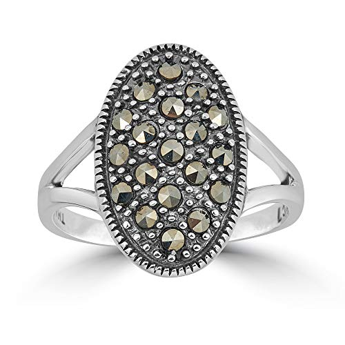 Sterling silver Genuine Marcasite Oval Ring