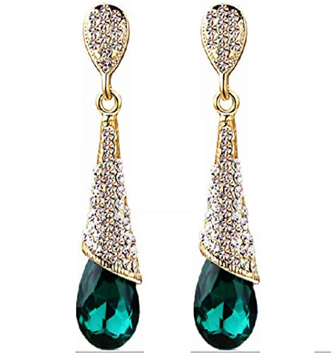 Elegant Rhinestone Crystal Drop Earrings (Emerald Green)