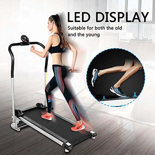 Ensteinberge Folding Silent Free Assembly Health Fitness LED Display Treadmill Calories Time Speed Distance Running Machine HB8023