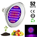 Derlight 52W E27 Led Grow Light Bulbs, Grow Lights for Indoor Plants, Growing Lamp for Gardening Greenhouse With 30 Red and 22 Blue LEDs Review