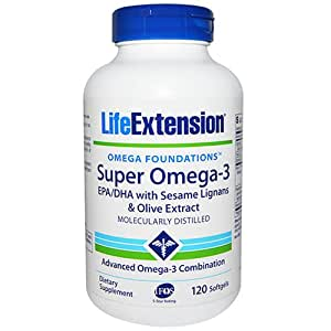 Life Extension Super Omega-3 Epa/DHA with Sesame Ligans & Olive Extract Soft Gels, 120 Count