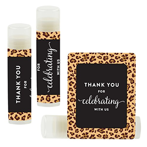 Andaz Press Lip Balm Birthday Party Favors, Thank You for Celebrating with Us, Leopard Cheetah Print, 12-Pack, Cinco de Mayo Mexican Fiesta Themed Decor ()