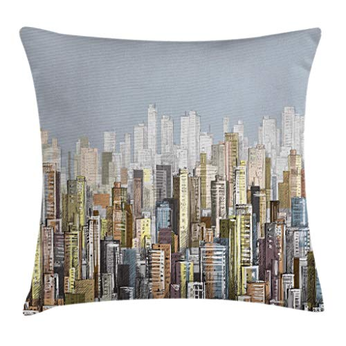 """Ambesonne Urban Throw Pillow Cushion Cover, Hand Drawn Vector City Landscape of Skyscrapers and The Sky Urban Illustration, Decorative Square Accent Pillow Case, 20"""" X 20"""", Blue Grey"""