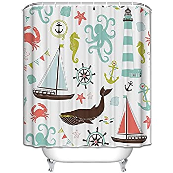 Sea Creatures Rope And Anchor Fabric Bathroom Shower Curtain 60x72  ,Seahorse Whale Shark Octopus Coral