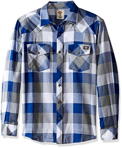 Dickies Men's Regular Fit Western Flannel Shirt, Royal Blue/Smoke, M