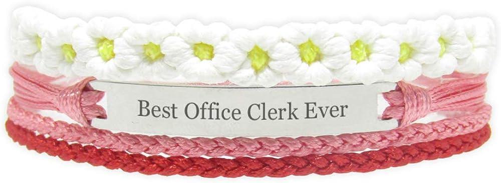 Miiras Job Engraved Handmade Bracelet for Women - Best Office Clerk Ever - White FL-RE - Made of Braided Rope and Stainless Steel - Gift for Office Clerk