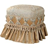 Jennifer Taylor Home Macy Collection Traditional Modern Flair Trim Tassels With Cord, Decorative Cinching and Pleated Skirt Accent Square Ottoman, Green/Gold