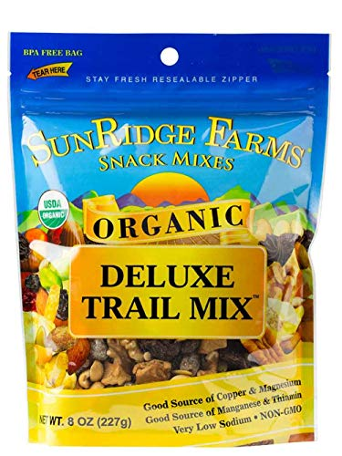 - SunRidge Farms Organic Deluxe Trail Mix NonGMO Verified 8 Ounce Bag (Pack of 12)
