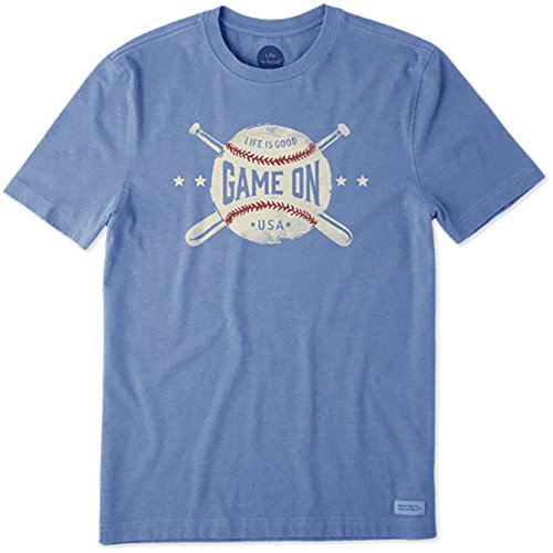 Life is Good Men's Game On Baseball Crusher T-Shirt, Heather Vintage Blue, XL Life Is Good Baseball T-shirt