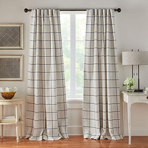 Cheap Elrene Home Fashions Brighton Windowpane Plaid Grid Blackout Window Curtain Panels/Drapes window curtain panel for sale